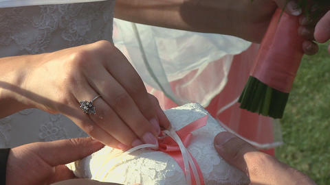 Bride puting ring Footage