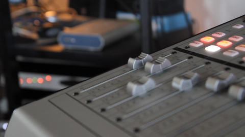 Closeup of audio mixing console Footage