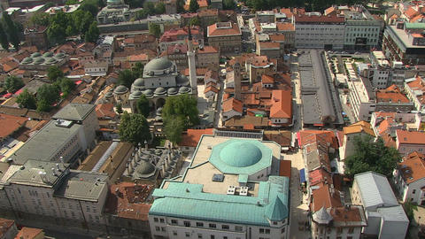 Aerial shot of Gazi-Husref bey mosque in Sarajevo Footage