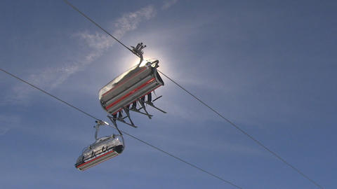 Ski Lift Passing By, Bottom View stock footage