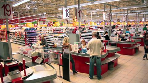 Timelapse of Cash Desks at a Supermarket Footage