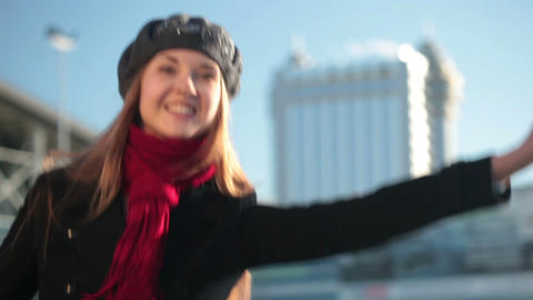 Close-up Of A Girl Calling A Taxi stock footage