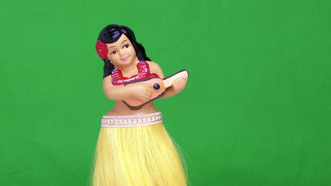 Green Screen Hula Girl Doll Footage