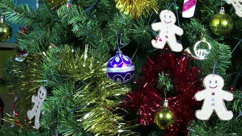 4K Christmas Plastic Tree Closeup 2 zoom Footage