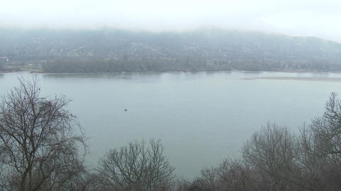 4K Danube Bend Foggy Winter Day Visegrad Hungary 5 Footage