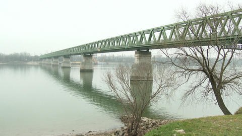4 K Iron Bridge Over River Danube Budapest Hungary stock footage