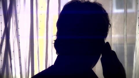 4 K Man Watching Behind Curtian Talking Phone Silh Animation