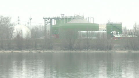 Chemical Factory And River Danube Winter stock footage