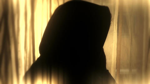 Despaired Hooded Man Silhouette 2 stylized Footage