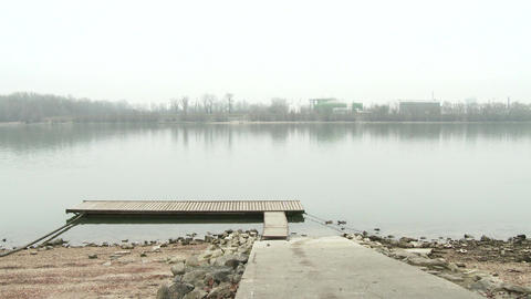 Wooden Pontton on River Danube 2 winter Footage