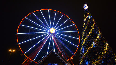 Ferris Wheel Amusement Park Time Lapse, Christmas, stock footage