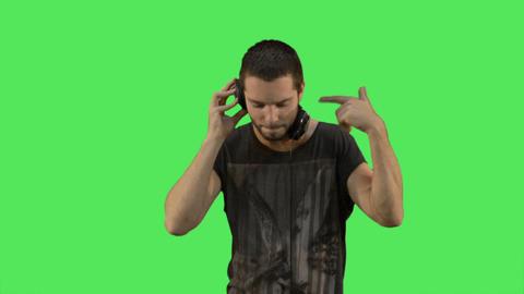 Male DJ with headphones Footage