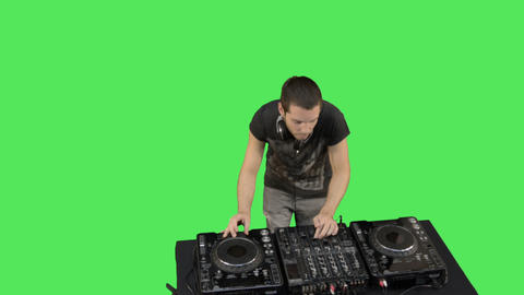 Male DJ and turntables Footage