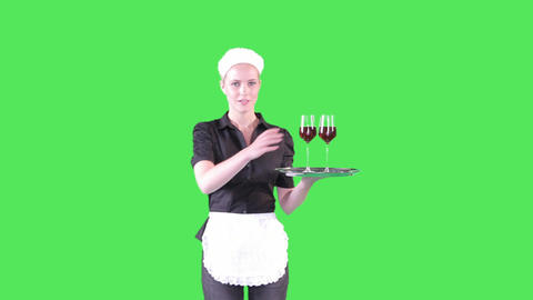 Female Waitress Serving Drink stock footage