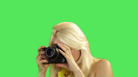 Female In Bikini Taking Picture stock footage
