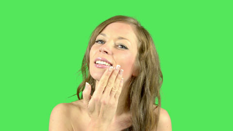 Pretty female stroking skin Live Action