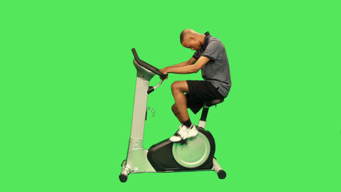 male training on exercise bicycle Footage