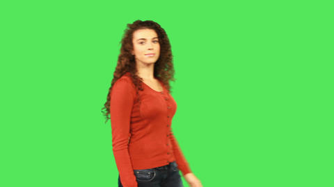 Portait of female with curly red hair Footage