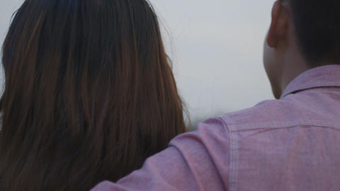 Young couple standing on bridge Footage