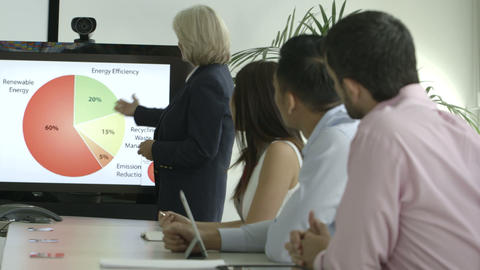Businesswoman explaining with help of pie chart in board room Footage