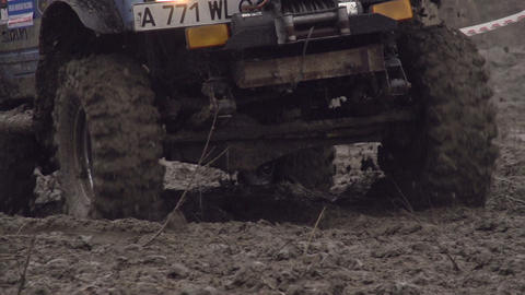 SUV In The Mud HD stock footage