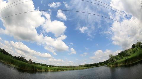 Movement of clouds over the river. Donetsk region Live Action