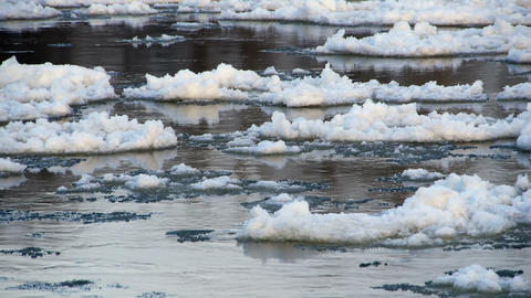 View at the ice floes from the riverside Footage