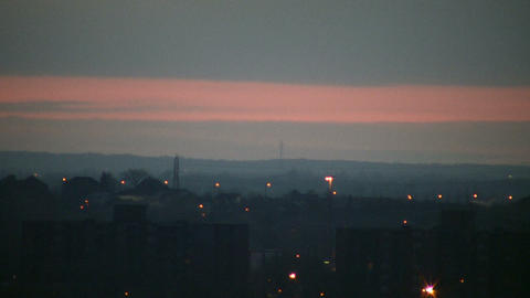 City at dawn, just before the sunrise (High Definition) Footage