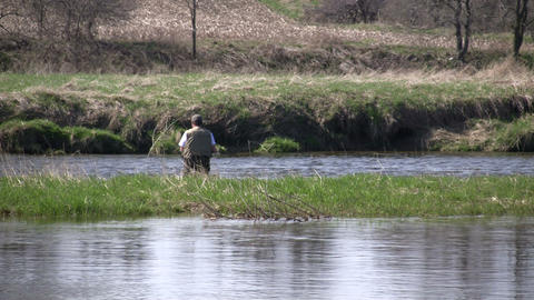 Man is fly fishing on a sunny day (High Definition) Stock Video Footage