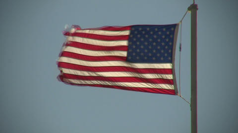 Close-up of American flag, flapping in the wind (High Definition) Footage