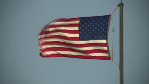 Close-up of American flag, flapping in the wind (High... Stock Video Footage