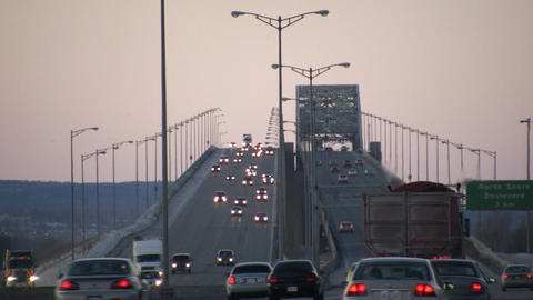 Cars are travelling over large multi-lane bridge (High Definition) Footage
