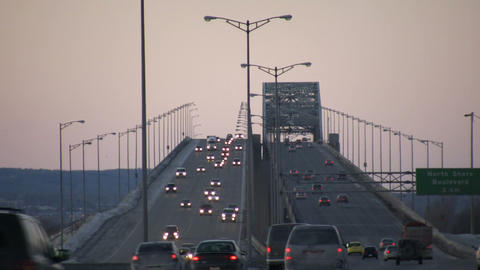 Cars are travelling over large multi-lane bridge (High... Stock Video Footage