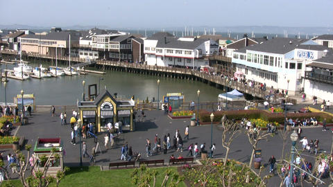 People are enjoying the sunny day at Pier 39 Stock Video Footage
