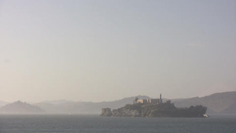 Shot of Alcatraz Island on a hazy day Stock Video Footage