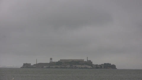 Shot of Alcatraz Island on an overcast day Stock Video Footage