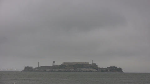 Shot of Alcatraz Island on an overcast day Footage