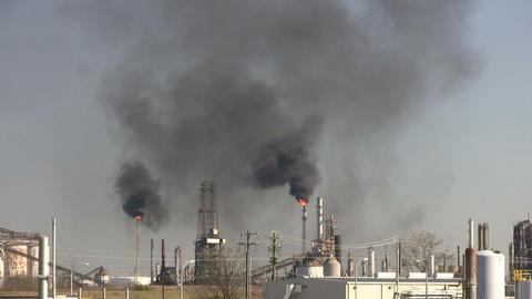 Black fumes billow from burning chimney fires at Houston... Stock Video Footage