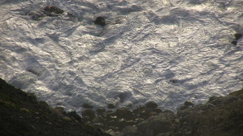 Rough ocean waves crash against the rocky San Francisco... Stock Video Footage
