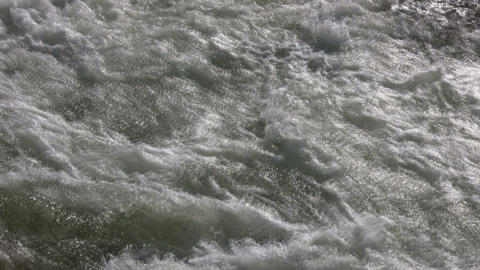 Closeup of the rough waters of the Kaweah River Footage