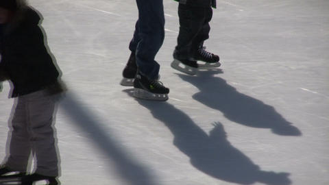 Closeup of ice skater's feet (High Definition) Footage