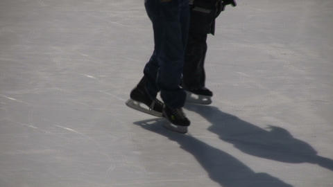 Closeup of ice skater's feet (High Definition) Stock Video Footage