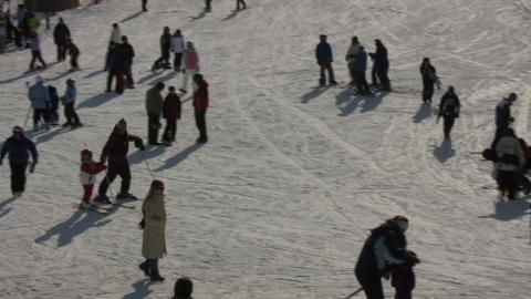 Winter scenic of people at a ski resort (High Definition) Footage