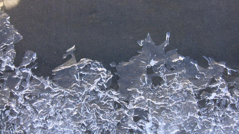 Closeup of melting ice as spring season arrives (High Definition) Footage