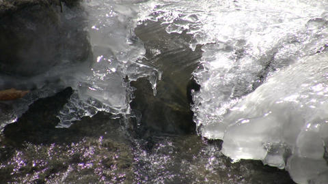 Closeup of melting ice as spring season arrives (High... Stock Video Footage