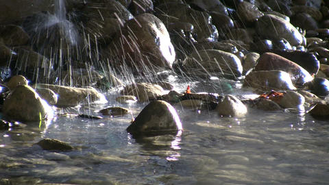 Falling Water Sprays Into The Sunlight Stream (High Definition) stock footage