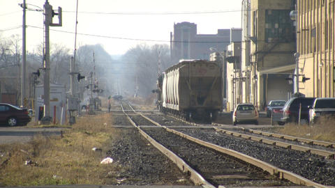 Small freight train slowly moves forward (High Definition) Stock Video Footage