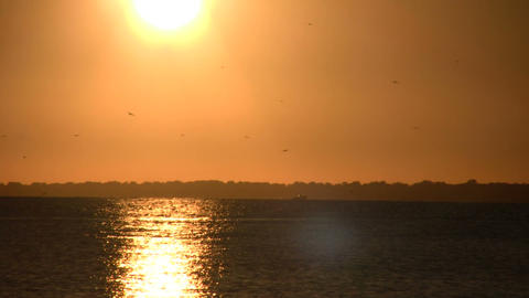 Setting sun is reflected in the rippling water (High... Stock Video Footage