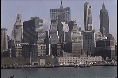 Good shots of New York harbor and city skyline in  Footage