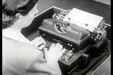 The history of typewriter technology is shown alon Footage